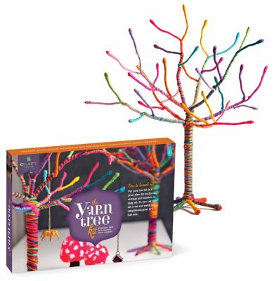 This is an image of a colorful yarn tree kit for kids.
