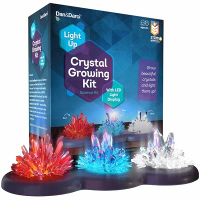 This is an image of a red, blue and clear glowing crystals for kids.