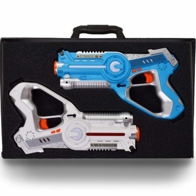 This is an image of a blue and white laser tag set for kids.