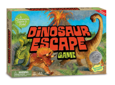 This is an image of a Dinosaur Escape board game by Peaceable Kingdom for kids.