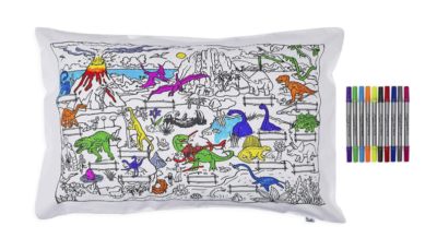 This is an image of a set of 10 doodle pens and dinosaur pillow case.