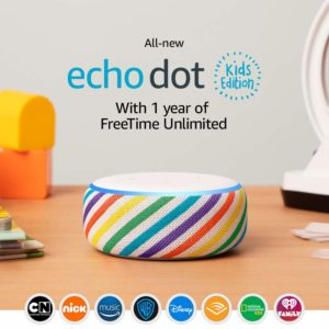 This is an image of a colorful echo dot in kids edition.