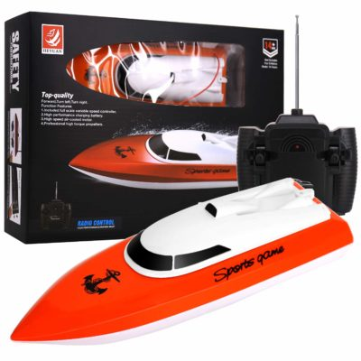 This is an image of a red high speed boat toy with remote control.