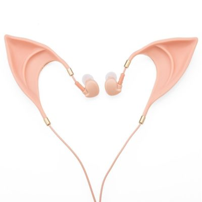 This is an image of a hands free pink elf ear headphones.