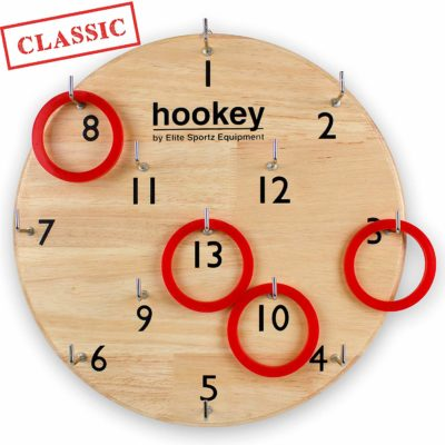 This is an image of a hookey ring toss game for kids.