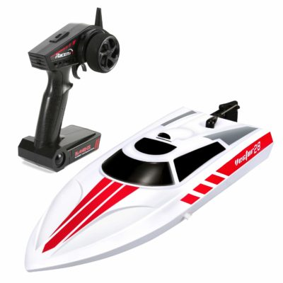 This is an image of a white radio control boat by FUNTECH.