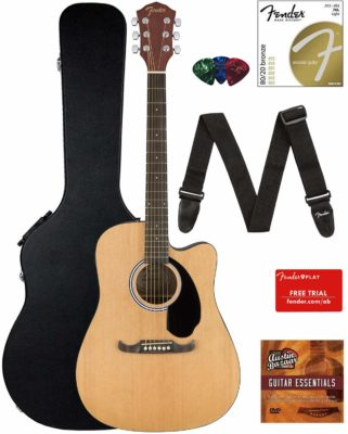 This is an image of an acoustic electric guitar set.