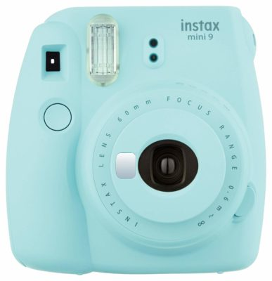 This is an image of a ice blue Instax mini 9 camera.