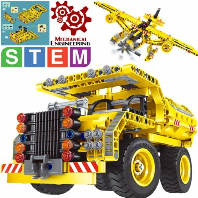 This is an image of a yellow vehicle and airplane building blocks set for kids.