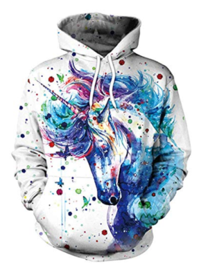 This is an image of a 3D unicorn print hooded sweatshirt.