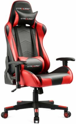 This is an image of a red ergonomic gaming chair.