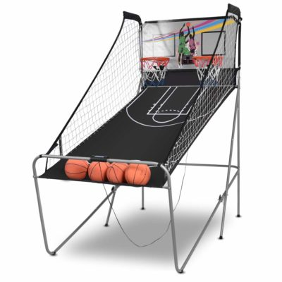 This is an image of a double electronic basketball hoop for kids.