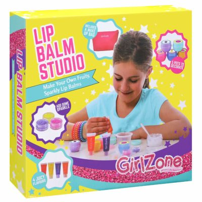 This is an image of a 22 piece make your own lip balm makeup kit for little girls.