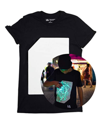 This is an image of a black t-shirt with interactive glow in the dark print.