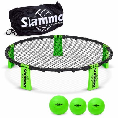 This is an image of a green Slammo game set for kids.