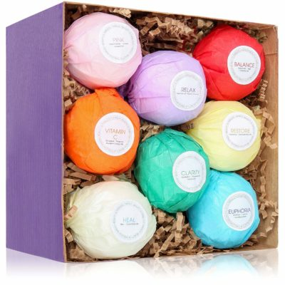 This is an image of a natural and organic bath bombs set.