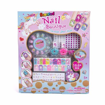 This is an image of a unicorn themed nail art kit.