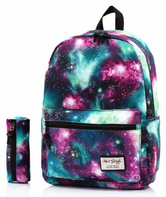 This is an image of a galaxy style backpack with pouch.