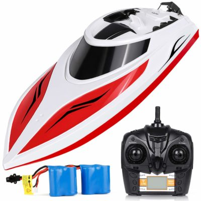 This is an image of a rc boat with batteries by INTEY.