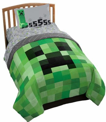 This is an image of a Minecraft twin bed set for kids.