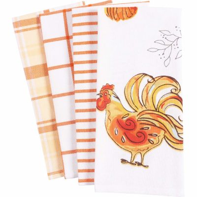 This is an image of a harvest rooster print kitchen towel set.