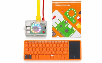 This is an image of an orange build your own computer set for kids.