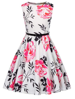 This is an image of a pink and white floral dress for little girls.