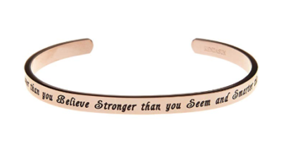 This is an image of a rose gold inspirational bracelet.