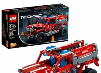 This is an image of a 513 piece red First Responder vehicle building kit.