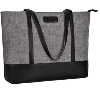 This is an image of a 15.6 inch gray laptop tote bag.