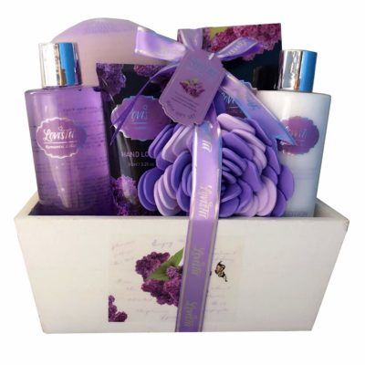 This is an image of a lavender fragrance spa gift set.