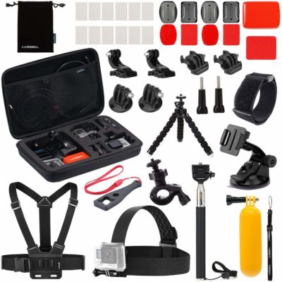 This is an image of an accessory kit for action camera.
