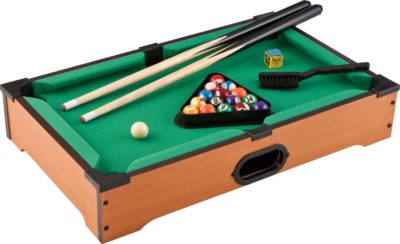 This is an image of a miniature billiard game set for kids.