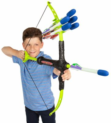This is an image of a boy using a foam archery set for kids.