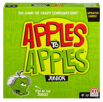 This is an image of a Apples to Apples Jr. comparison game.