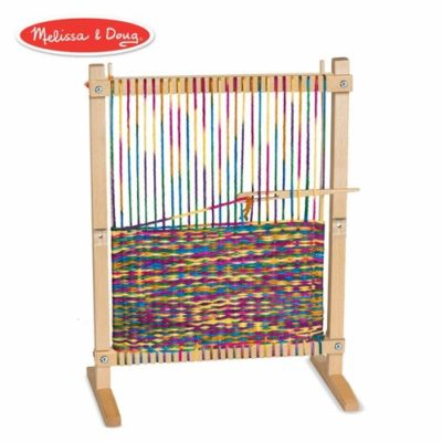 This is an image of a wooden weaving loom kit.