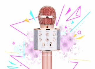 This is an image of a rose gold bluetooth karaoke microphone for kids and adults.