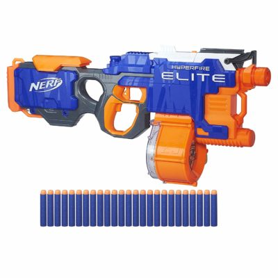 This is an image of a nerf elite hyperfire toy gun with 25 darts.