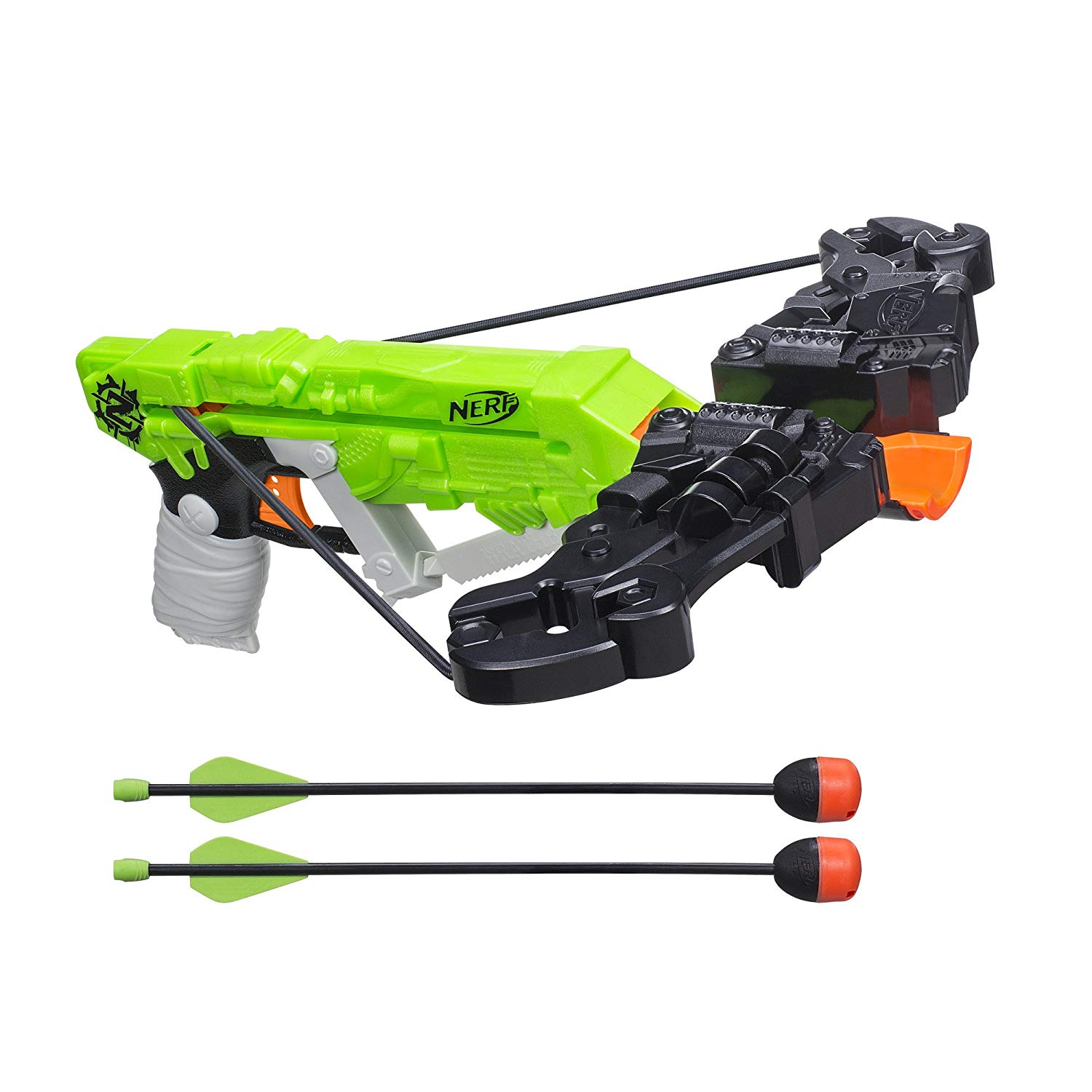 This is an image of a green nerf crossbow toy gun for kids.