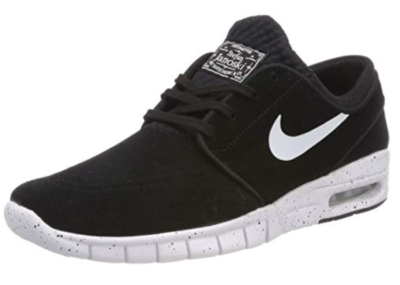 This is an image of a black nike sneake shoes for kids.