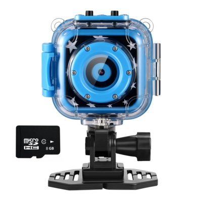 This is an image of a blue action camera with video and sd card.