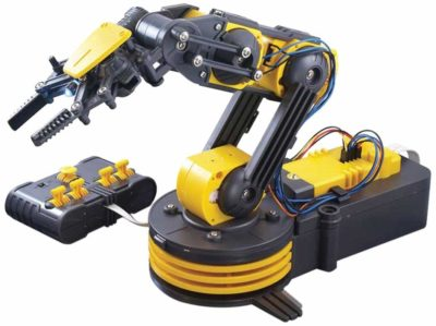 This is an image of a yellow and black arm edge robot with control for kids.