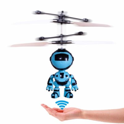 This is an image of a flying RC helicopter robot toy for kids.