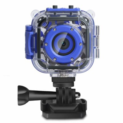 This is an image of a blue action camera for kids.
