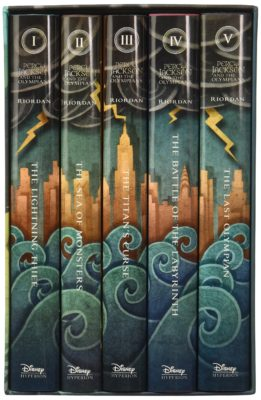 This is an image of a complete set of Percy Jackson and the Olympians book.