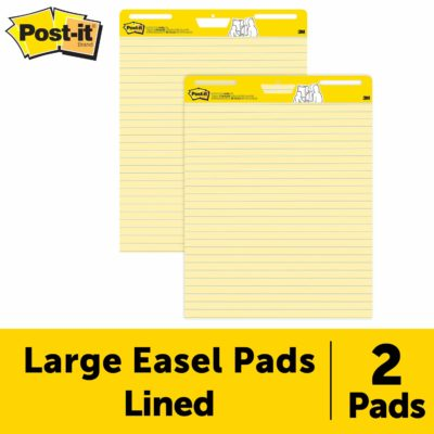 This is an image of a large yellow sticky easel pad for teachers.