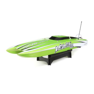 This is an image of a green rc boat by Pro boat.