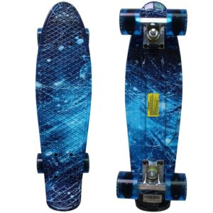 This is an image of a blue galaxy skateboard.