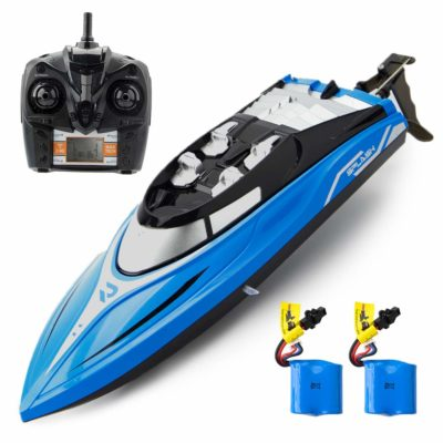 This is an image of a blue rc boat with batteries by ROTOBAND .