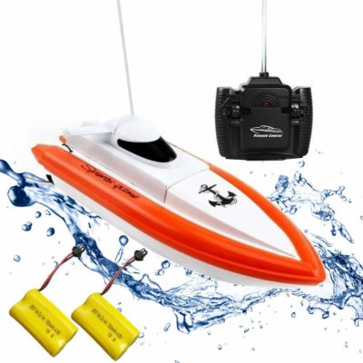 This is an image of an orange rc boat with batteries by Rabing.
